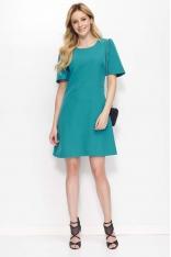 Zielona Sukienka Trapezowa z Kloszowanym Rękawem