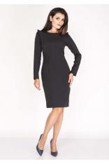 Czarna Sukienka Ołówkowa z Falbankami na Ramionach