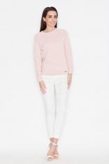 Różowa Minimalistyczna Bluzka z Dyskretną Fakturą z Długim Rękawem