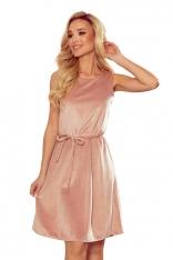 Trapezowa Letnia Sukienka  - Różowa