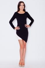 Czarna Nowoczesna Sukienka z Asymetrycznym Dołem z Długim Rękawem