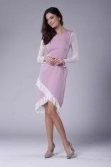 Różowa Wizytowa Sukienka z Kopertowym Dołem z Hiszpańską Falbanką