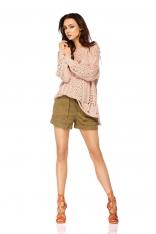 Pudrowy Lekki Ażurowy Sweter Oversize