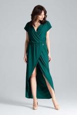 Zielona Długa Kopertowa Sukienka z Krótkim Kimonowym Rękawem