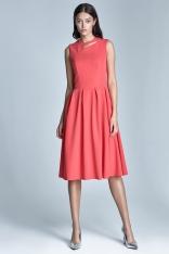 Koralowa Wizytowa Midi Sukienka bez Rękawów z Pęknięciem przy Dekolcie