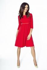 Czerwona Sukienka Wizytowa Trapezowa z Kontrafałdą