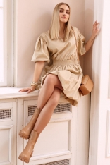 Krótka Sukienka Bombka z Bufiastym Rękawem - Beżowa