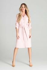 Sukienka Koszulowa z Podpinanym Rękawem - Różowa