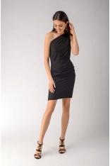 Czarna Elegancka Ołówkowa Sukienka na Jedno Ramię