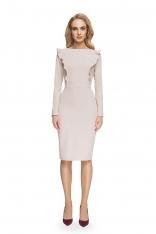 Ołówkowa Sukienka z Falbankami przy Rękawach- Beżowa
