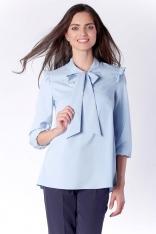 Kobieca Błękitna Bluzka z Dekoracyjnym Wiązaniem i Falbanką