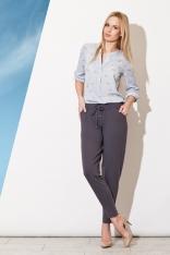 Szare Długie Spodnie z Troczkami