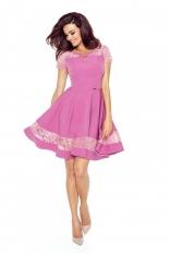 Różowa Sukienka Elegancka Rozkloszowana z Koronką