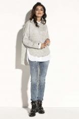 Szary Asymetryczny Sweter z  Dekoltem w Łódkę