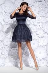 Granatowa Sukienka Wizytowa Koronkowa z Szerokim Dołem