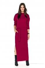 Bordowa Komfortowa Maxi Sukienka z Paskiem