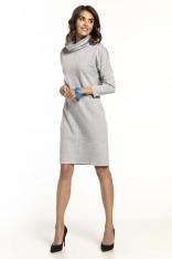Jasnoszara Bawełniana Sukienka z Golfem