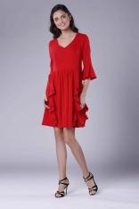 Czerwona Wizytowa Rozkloszowana Sukienka z Falbankami