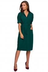 Sukienka Szmizjerka z Dużymi Kieszeniami - Zielona