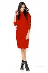 Dresowa Czerwona Sukienka ze Ściągaczem
