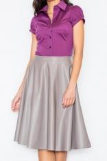 Elegancka Koszula z Krótkim Rękawem w Kolorze Bakłażanu