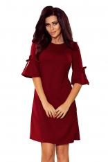 Bordowa Trapezowa Sukienka z Rozkloszowanym Rękawem do Łokcia