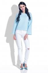Błękitny Sweter ze Strukturalnym Splotem z Szerokim Rękawem
