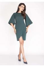 Zielona Sukienka Kopertowa z Hiszpańskim Rękawem