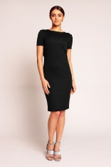 Czarna Elegancka Sukienka przed Kolano z Dekoltem Typu Woda na Plecach