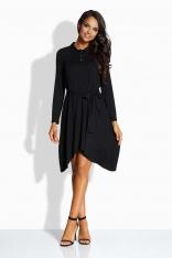 Czarna Sukienka z Koszulowym Kołnierzykiem z Wydłużonymi Bokami