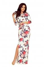 Biała Dzianinowa Maxi Sukienka w kwiaty z Rozporkiem
