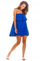 Niebieska Zwiewna Mini Sukienka z Hiszpańskim Dekoltem