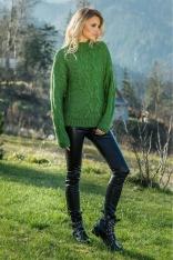Zielony Ciepły Sweter z Ozdobnym Wzorem