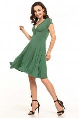 Zielona Sukienka Dzianinowa z Dekoltem V na Lato