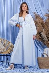 Błękitna Maxi Lniana Sukienka - Błękitna
