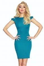 Zielona Sukienka Bodycon z Rozcięciem na Ramionach