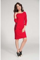 Czerwona Sukienka Prosta Dzianinowa z Ozdobnym Suwakiem