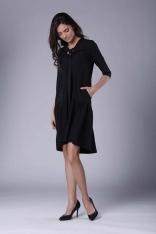 Czarna Subtelna Sukienka z Obniżoną Talią Wiązana przy Dekolcie