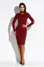 Bordowa Sukienka Ołówkowa z Wycięciami