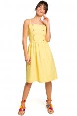 Żółta Sukienka na Ramiączkach Ozdobiona Guzikami