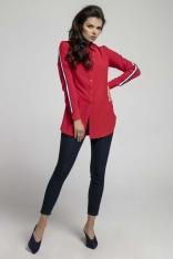Czerwona Długa Koszula z Lampasem na Rękawie