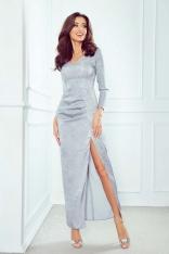 Szara Sukienka Maxi z Efektownym Połyskiem