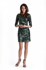 Zielona Mini Sukienka Bodycon w Stylu Glamour