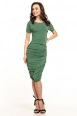Zielona Dopasowana Midi Sukienka z Drapowaniami