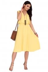 Żółta Plisowana Sukienka z Kopertowym Dekoltem