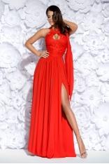 Czerwona Sukienka Wieczorowa Maxi z Gipiurą
