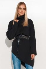 Asymetryczny Sweter z Golfem - Czarny