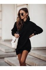 Czarna Sukienka Sportowa z Kapturem