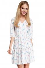 Ecru Sukienka Wzorzysta w Stylu Boho Model 1