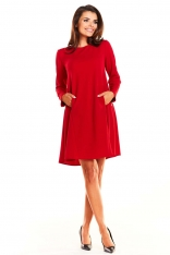 Czerwona Sukienka Oversize z Suwakami na Rękawach